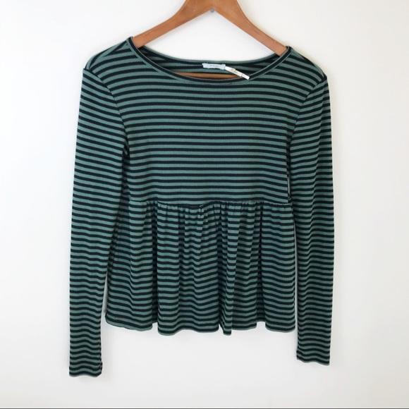 6f3afa3c831 Kimchi Blue Thermal Striped Peplum Top Long Sleeve